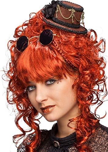 Fancy Me Damen Braun Steampunk Mini Hut Haarband Wild West Cowgirl Movie Faschingskostümzubehör Karneval Erfinder