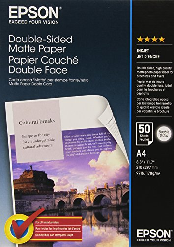 Epson Papier Photo Mat Couché Double Face A4 210 X 297 Mm - 50 Feuilles