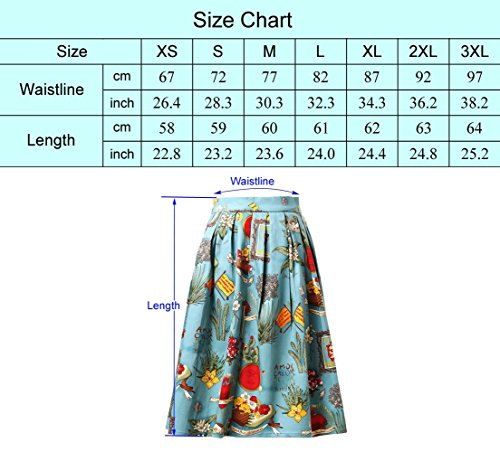 Damen A-linien Roecke Elegant Faltenrock Knielang Vintage mit Mehren Farben CL6294 Farbe19