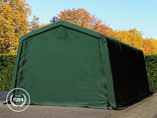 TOOLPORT Zeltgarage 3,3 x 6,2 m Weidezelt Premium Carport 500 g/m2 PVC Plane Unterstand Lagerzelt Garage in dunkelgrün