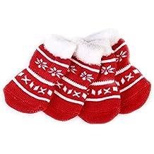 LEORX Mascotas calcetines 4pcs Navidad perro cachorro gato antideslizantes calcetines con pata impresiones Pet producto de la fuente - tamaño S