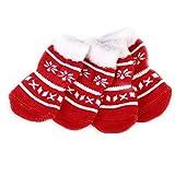 LEORX Animale domestico calze 4pcs Natale cane cucciolo gatto antiscivolo calze con zampa stampe prodotto prodotti per animali domestici - taglia S