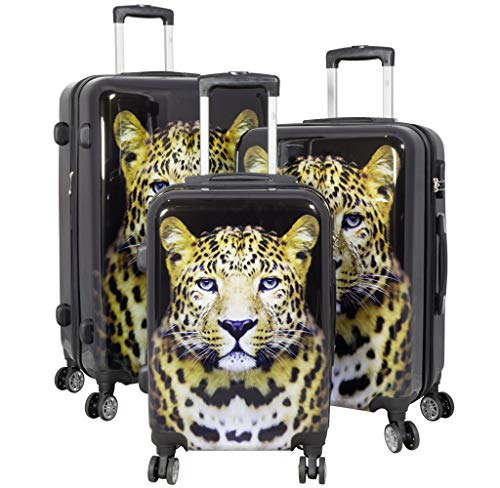 Polycarbonat Reisekoffer Trolley Hartschale - Design Leopard (Kofferset 3tlg)