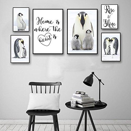 bdrsjdsb Nordic Letters Pinguin Malerei dekorative Bild Home Wall Art Decor Poster Geschenk 5# 30 cm x 40 cm -
