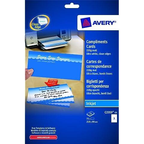 Avery Dennison - Biglietto per corrispondenza, grammatura: 220 g/m², 210 x 99 mm, confezione da 75 unità