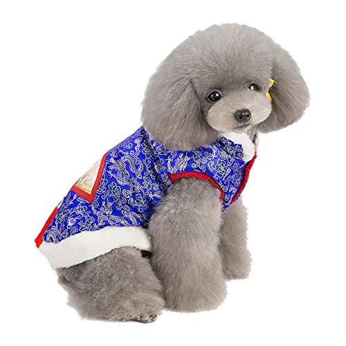 Amphia - Haustier Baumwollmantel im chinesischen Stil,Hund Kleidung Chinesischen Stil Tang Suit Mode Zwei-Bein Tang Suit Cotton Coat(M,Blau)