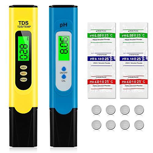 omitium PH Messgerät Digital Wasserqualität Tester mit LCD Display TDS PH EC Meter Wasserqualitätstest Messgerät für Trinkwasser, Lebensmittel,Thermen,Aquarien,Hydroponik und Ander 2 in 1 Set