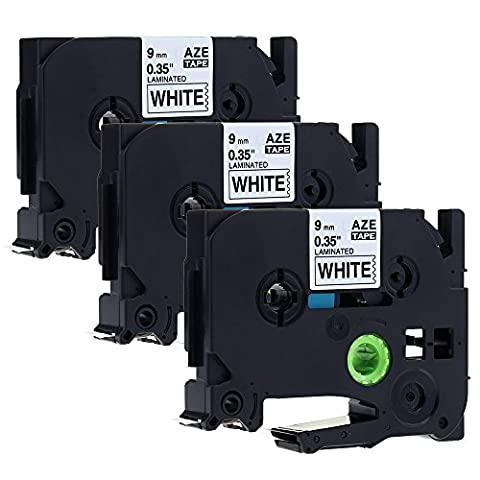 Anycolor 3Rolls Black on White Label Tape Compatible Brother P Touch TZe- 221 Tape Cassettes for PT-1000 GL-H105 GL-200 PT-1080 PTE-550WVP PT-P700 PT-H300 Label Printer 9mm x 8m
