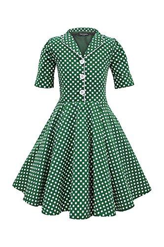 BlackButterfly Kinder 'Sabrina' Vintage Polka-Dots Kleid im 50er-J-Stil (Grün, 13-14 J / 158-164) -