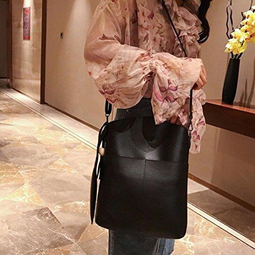 Longra Donne borsa semplice di tre pezzi, grande scatola della spalla di grande capacità Nero
