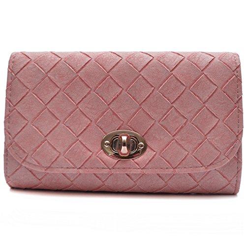Vain Secrets Damen Umhänge Tasche Clutch Strass oder Saffiano Abendtaschen Alt Rosa geflochten