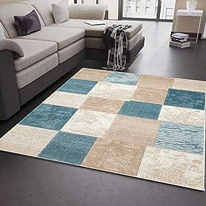 VIMODA Modern Edler Designer Teppich, Kariert und Meliert in Türkis Beige Creme, Sehr Dicht Gewebt - ÖKO TEX Zertifiziert, Maße:200 x 290 cm