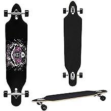 [pro.tec] Monopatín Longboard para el cruising en la ciudad y el parque - 104x23x9,5cm - Skateboard (negro, blanco, rosa con craneo)