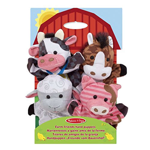 Melissa-Doug-Farm-Friends-Hand-Puppets-Set-of-4-Cow-Horse-Sheep-and-Pig