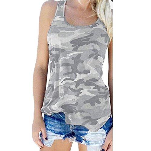 Wenyujh Femme Eté Débardeur Camouflage Sport Tank Top Lâche Shirt sans Manches Gilet Casual Vest Yoga Course (Tag L(FR40), Gris Clair)