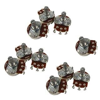 IKN Guitar Pots Full Size A250K Short Split Shaft Potentiometers ST Style Pack of 10pcs