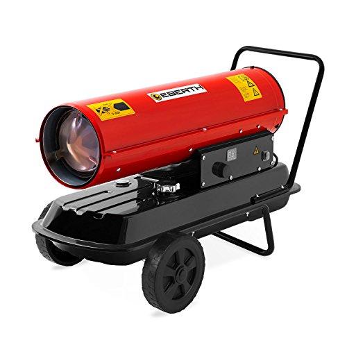 EBERTH 20kW Direkt-Ölheizgebläse (19L Kraftstofftank, Überhitzungsschutz, integriertes Thermostat, elektronische Zündung, 230V, Flammensicherung, Tragegriff, Fahrgestell)