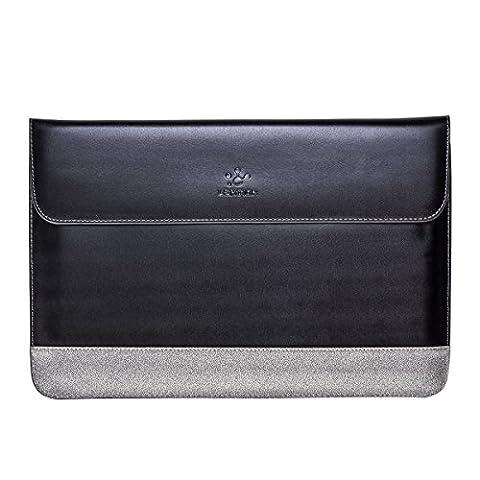 """Housse pc Portable LENTION - Split Leather Sleeve, Housse cuir refendu de vache pour pc Portable 15-15.4"""", MacBook Pro 15 pouces, Style Classique & Doux au Toucher - Noir et Gris"""