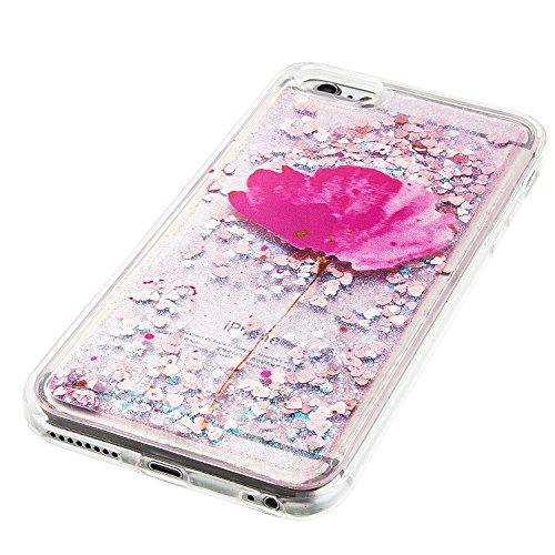 Coque iPhone 6 , Glitter Liquide TPU Etui Coque pour iPhone 6 , CaseLover Plume et Attrape Reve Motif Mode Etui Coque Dynamic Etoiles Paillettes Sable TPU Slim pour Apple iPhone 6 / 6S (4.7 pouces) Mo Feuille