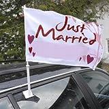 Autoflagge Hochzeit - Autoflagge mit der Aufschrift Just married in Rot-Weiß