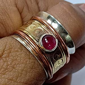 925 Sterling Silver Band, Brass and Copper Spinner Ring for Women, Ruby Spinner, Anxiety Ring for Meditaion, Thumb Rings…