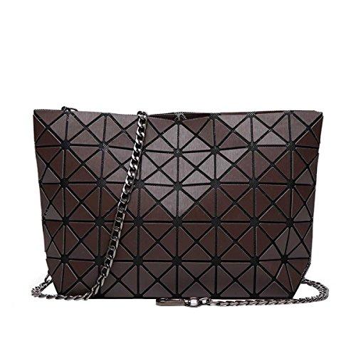 Spalla Delle Donne Del Sacchetto Piazza Borsa Cubo Geometria Fashion Bag Brown