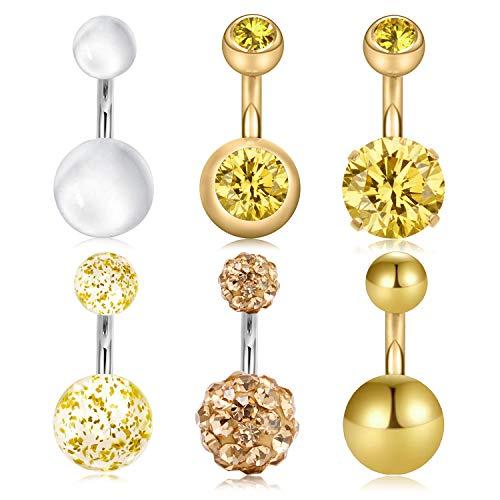 Acefun 6 pezzi piercing all'ombelico in titanio piercing all'ombelico anello con ombelico in acciaio inox corpo ombelico pancia ombelico piercing