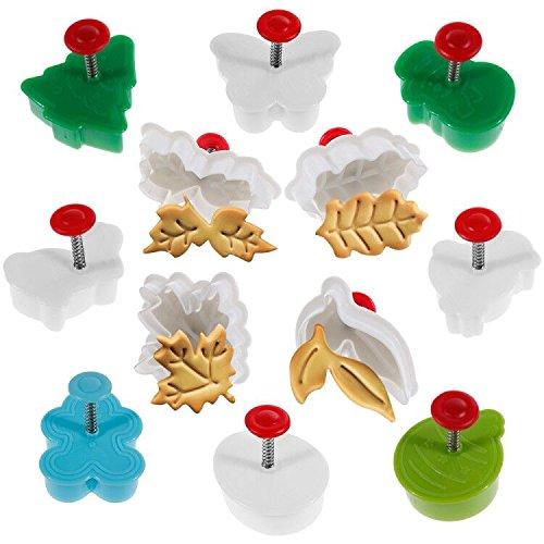 Goldge 12teilige Plätzchenformen Weihnachts-Plätzchenausstecher Ausstechformen Backformen Keks Cookie Cutters