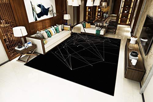 Schwarzer Hintergrund Creme/Elfenbein Linien Wohnzimmer Teppich Winterisolierung S - XXXL Modern Mehrzweck Bodenmatte,Black,200x300cm