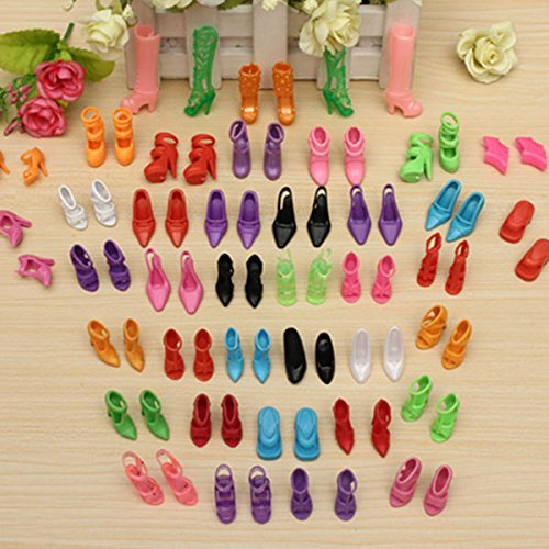 euwanyu 40 Pairs Different High Heel Shoes Boots Accessories for Baby Doll
