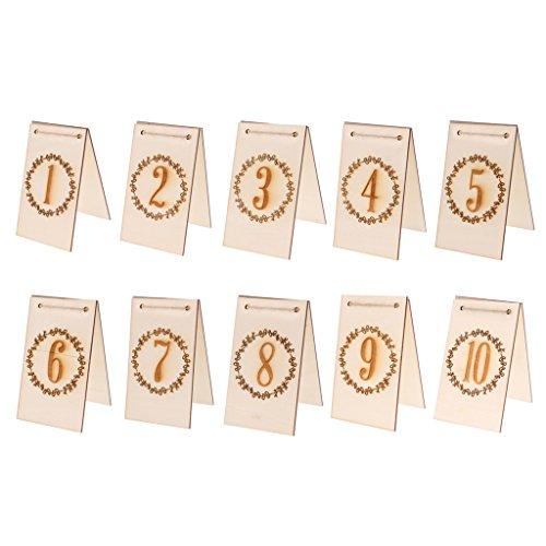 oration Holz Tischnummern 1-10,11-20 - Nummer 1-10, wie beschrieben (Anzahl Karte Halter Für Hochzeiten)