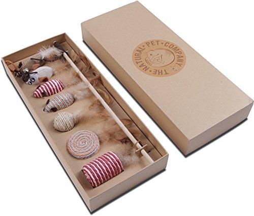 Katzenspielzeug Set – Interaktiv – Federn – Katzenangel – Stoffmäuse – Geschenkbox – The Natural Pet Company Qualitätsprodukt - 2