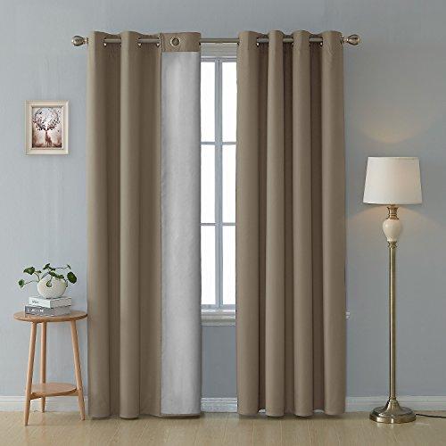 Deconovo tende termiche isolanti tende decorative per soggiorno 100% poliestere 140x180 cm cachi due pannelli