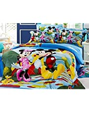 SinghsVillas Decor Mart Kids Cartoon Printed, Cotton Single Bedsheet with 1 Pillow Cover (Twin Size, Multicolour)
