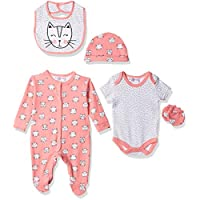 Lilly And Jack Monochrome With Pink Cats And Dashes for Baby Girls, 0-3 Months - Pink, Pack of 5