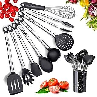 Tatufy Kit ustensiles de Cuisine, 9 pcs kit Ustensiles de Cuisine en Acier Inoxydable, Set spatule en Silicone, Batterie de Cuisine antiadhésive Anti-Rayures et résistante à la Chaleur avec Support
