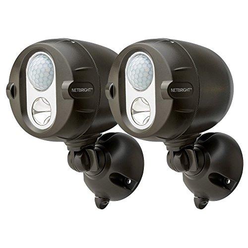 Mr Beams NetBright batteriebetriebener LED Spot mit Bewegungssensor und per Funk koppelbar braun MBN352 (2-er Pack) (Batterie-pack Led-licht, Externes)