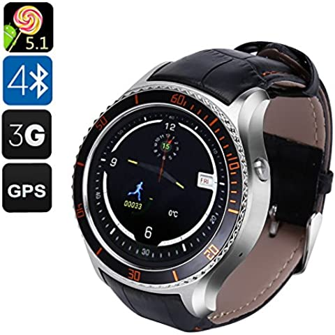 IQI I2 Android Smart Watch – 3 G, Android 5.1, GPS, Bluetooth 4.0, Wi-Fi, Play Store, Pedometro, Cardiofrequenzimetro (Argento) – Spedizione dalla Cina, Hong Kong