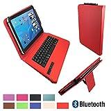 xTab Bluetooth Qwertz Keyboard für Blaupunkt Discovery 1000C 108C Schutzhülle Case Cover 10.1 Rot Tastatur