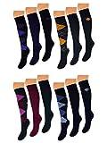 3 bis 12 Paar Damen Kniestrümpfe Baumwolle Karo Uni Muster Kariert Rot Lila Gelb Blau Schwarz - 41275 (39-42, 3 Paar Gelb/Anthrazit)