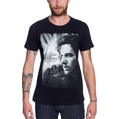 Game of Thrones Jon Snow T-Shirt Sword in Darkness Elbenwald Schwarz Schwarz