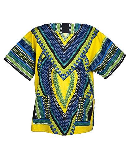 Traditionelle Dashiki (Lofbaz - Unisex Dashiki - Traditionelles Oberteil mit afrikanischem Druck - Size M Heart Gelb)