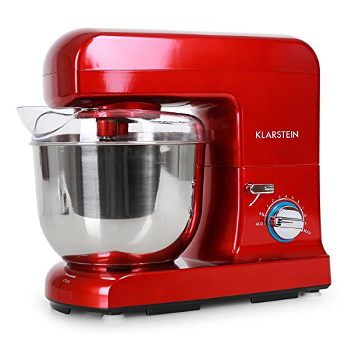 Klarstein Gracia Rossa • Küchenmaschine • Rührmaschine • Knetmaschine • 1000 W • 1,3 PS • 5 Liter • planetarisches Rührsystem • 10-stufige Geschwindigkeit • Edelstahlschüssel • Schnellspannsystem • Rühr- und Knethaken • Multifunktionsarm • rot