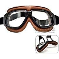 BJ Global Soft Padded Adult Brown Leather Vintage motocross goggles with clear lens steampunk goggles sport sunglasses for harley ,pilot