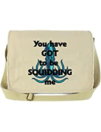 Dancing Participle You've Got To Be Squidding Me Putty Raw Edge Canvas Messenger Bag