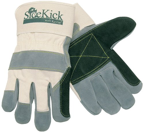 MCR Sicherheit 16012x l side Kick Kuh Leder genäht Kevlar Doppel Palm Handschuhe mit Sicherheit Manschette, Natural Pearl, X-Large, RJ45 (Doppel-manschette Leder Handschuhe)