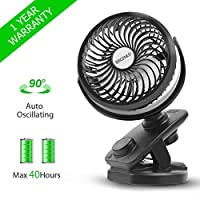 BRIGENIUS [2019 Upgraded Version] Battery Operated Clip On Oscillating Fan, Rechargeable 4400mA Battery Stroller Fan USB Powered Desk Fan Mini Fan for Office Outdoor Camping Travel Car Gym