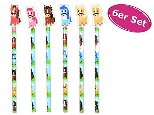 Bleistift Pferd mit Radiergummi, 6er Set - ausgefallener Bleistift mit Radierer, Stift, Give Away