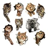 Ljxy Ornaments 9 STÜCKE Katze 3D Wand Emoji Aufkleber Wohnzimmer Schlafzimmer Dekoration Tier Wandaufkleber Bad/WC / Kühlschrank/Auto / Kinderzimmer/PVC / Küche Wandtattoos