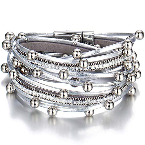 Younicer fashion bead multiple strati bracciale per donna uomo bracciale in pelle bangle party jewelry gift